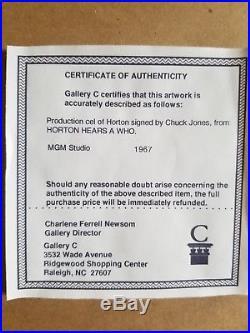 1967 Prod Cel Horton Hears A Who Signed By Chuck Jones
