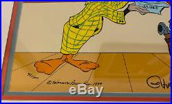1989 Signed Chuck Jones Daffy Sherlock Duck Yosemite Sam Saloon Painted Cel