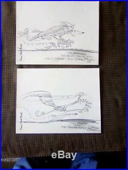 2 Original Chuck Jones Wile E. Coyote And Road-Runner Pencil Drawings Signed 77