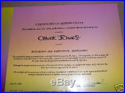 BUGS BUNNY & DAFFY DUCK SHOWDOWN FRAMED SIGNED CHUCK JONES WB cel LIMITED EDITIO