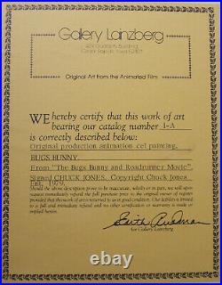 BUGS BUNNY/ROAD RUNNER MOVIE 1979 Original Production Cel Signed Chuck Jones