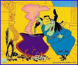 Broomstick Bunny A Witch Hazel cel. Chuck Jones, Signed by June Foray. LE/200