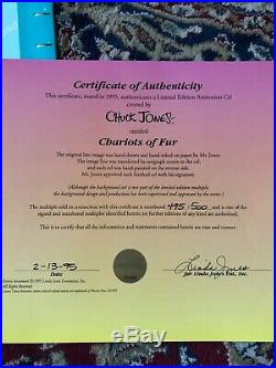 CHUCK JONES CHARIOTS OF FUR ANIMATION CEL limited edition signed authenticity