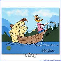CHUCK JONES Hand Signed Animation Cel FISH TALE Daffy Duck COA
