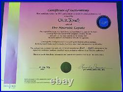 CHUCK JONES Hand Signed Animation Cel NEUROTIC COYOTE ROADRUNNER WILE E COA fr