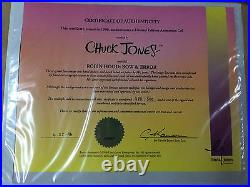 CHUCK JONES Hand Signed Animation Cel ROBIN HOOD Daffy Duck Porky Pig COA Bugs