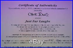 CHUCK JONES JUST FUR LAUGHS ANIMATION CEL SIGNED #241/500 WithCOA BUGS BUNNY