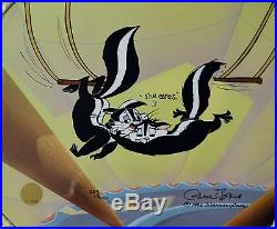 CHUCK JONES KITTY CATCH ANIMATION CEL SIGNED #229/500 WithCOA PEPE LE PEW