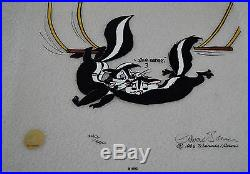 CHUCK JONES KITTY CATCH ANIMATION CEL SIGNED #240/500 WithCOA PEPE LE PEW