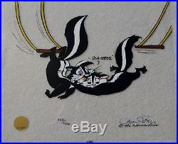 CHUCK JONES KITTY CATCH ANIMATION CEL SIGNED #245/500 WithCOA PEPE LE PEW