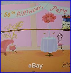 CHUCK JONES PEPE LEPEW 50TH BIRTHDAY ANIMATION CEL SIGNED #258/400 WithCOA