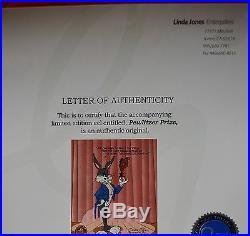 CHUCK JONES PEWLITZER PRIZE ANIMATION CEL BUGS BUNNY SIGNED #474/750 WithCOA