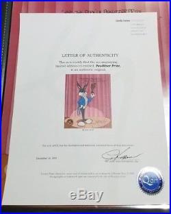 CHUCK JONES PEWLITZER PRIZE ANIMATION CEL BUGS BUNNY SIGNED #529/750 WithCOA