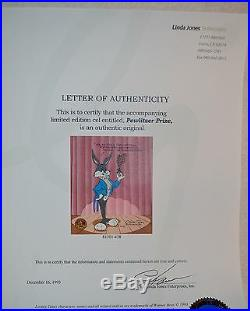 CHUCK JONES PEWLITZER PRIZE SIGNED ANIMATION CEL #458/750 WithCOA BUGS BUNNY