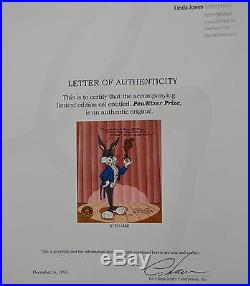 CHUCK JONES PEWLITZER PRIZE SIGNED ANIMATION CEL #488/750 WithCOA BUGS BUNNY