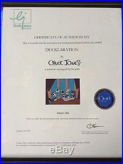 CHUCK JONES Signed Animation Cel Bugs Bunny Daffy Duck Porky PIG Yosemite sam