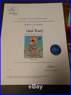 CHUCK JONES Signed Animation Cel Daffy Duck DAFFY CAVALIER COA1988 PERFECT