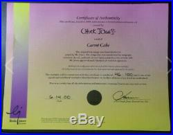 CHUCK JONES Signed Hand Painted Cel Bugs Bunny Carrot Cake LE 46/100 With COA