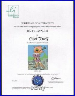 CHUCK JONES signed Daffy Cavalier 1988 Limited Edition Cel with Seal and COA