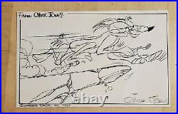 Chuck Jones 1987 Warner Bros Hand Signed 5 X 7.5 Wile E Coyote Sketch Card