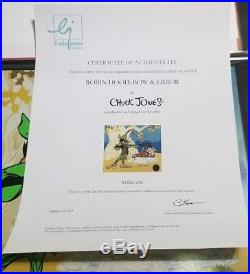 Chuck Jones Bow and Error Signed CEL Daffy Duck Looney Tunes Porky Pig with COA
