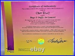 Chuck Jones Bugs And Daffy In Concert Hand Signed, Framed Matted Under Glass