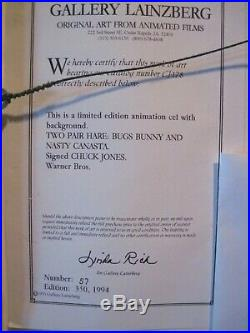 Chuck Jones Bugs Bunny Two Pair Hare 1994 Framed Signed Le Hand Painted Cel