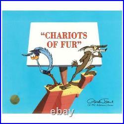 Chuck Jones Chariots of Fur Coyote Hand Signed painted Looney Tunes cel COA