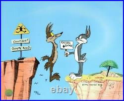 Chuck Jones Coyote Crossing Hand Signed painted Looney Tunes Sericel COA