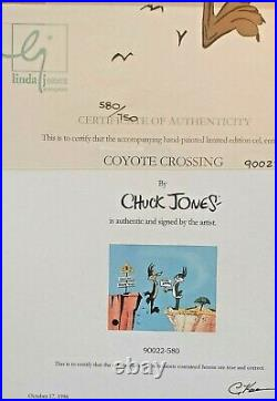 Chuck Jones, Coyote Crossing LTD ED. HAND SIGNED Sericel WITH COA 580/750