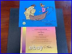 Chuck Jones Fish Tale Daffy Duck Hand Signed painted Looney Tunes cel COA