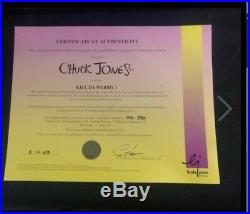 Chuck Jones Hand Painted Cel Kill Da Wabbit Bugs And Elmer Signed By Chuck Jones