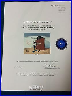 Chuck Jones Hand Signed Animation Cel BUGS BUNNY Framed GULLIBULL AUTO COA fr