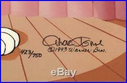Chuck Jones Hand Signed Animation Cel BUGS BUNNY PEPE LE PEW Framed WB COA