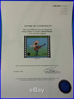 Chuck Jones Hand Signed Animation Cel DAFFY DUCK SOUND PLEASE WB COA BUGS BUNNY