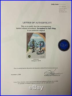 Chuck Jones Hand Signed Animation Cel WILE E COYOTE ROAD RUNNER Framed COA