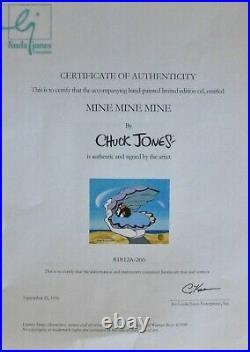 Chuck Jones Mine Mine Mine Hand Signed painted Looney Tunes Duffy Duck Sericel