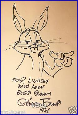 Chuck Jones Original Signed Bugs Bunny Drawing Cartoon Uacc Registered Dealer