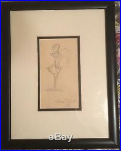 Chuck Jones Original'roadrunner' Sketch Drawing Signed 1981 Autograph