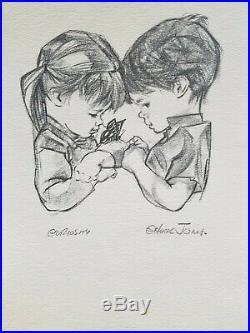 Chuck Jones Print- Two Children Curiosity Signed- JSA Certified