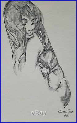 Chuck Jones Print- Woman and Child- Signed and Dated 1969- JSA Certified