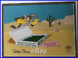 Chuck Jones RARE SIGNED Triptych Warner Orig Animation Prod Cel Wile Daffy Frog