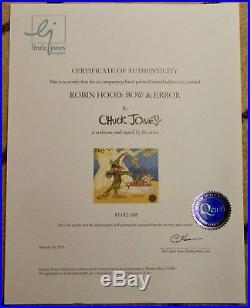 Chuck Jones Robin Hood Bow & Error Sold Out Animation Cel No. Hand Signed & COA
