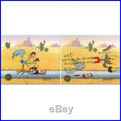 Chuck Jones SIGNED Road Runner and Coyote Painted Limited Edition Sericel