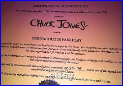Chuck Jones SignedRoad Runner CoyoteCelTURNABOUT IS FAIR PLAY ARTIST PROOF