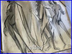 Chuck Jones Signed Charcoal Drawing Original Animation Art Vintage Nude Women