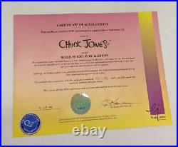 Chuck Jones Signed Daffy Duck Bow & Error Framed Animation Cel (HE2027396)