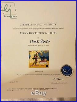 Chuck Jones Signed Daffy Duck Porky Pig Limited Edition Cel Bow and Error