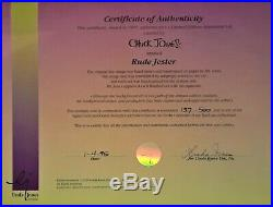 Chuck Jones Signed Daffy Duck in Rude Jester #137/500 Limited Edition Cel