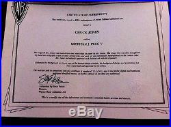 Chuck Jones Signed Michigan J Frog Warner Bros Cel Michigan J Frog V Cell Rare